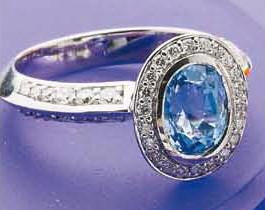 Oval Ceylon Sapphire & Diamond Ring