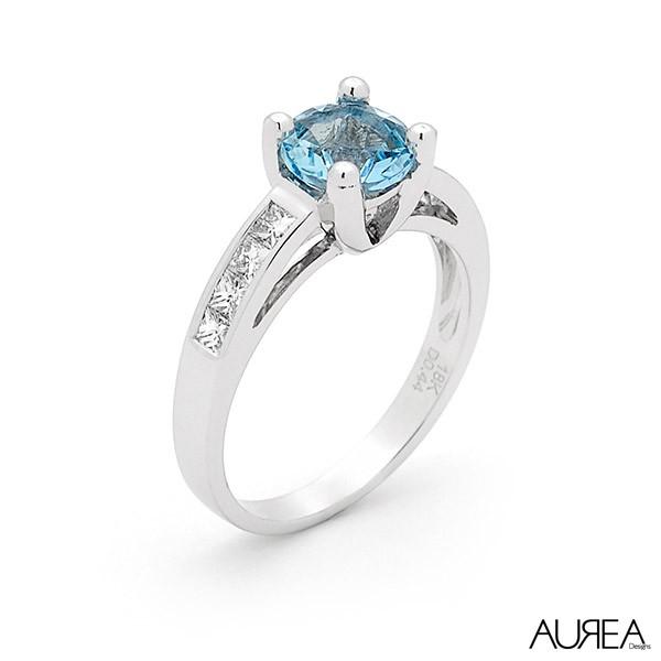 Round Blue Topaz & Diamond Ring