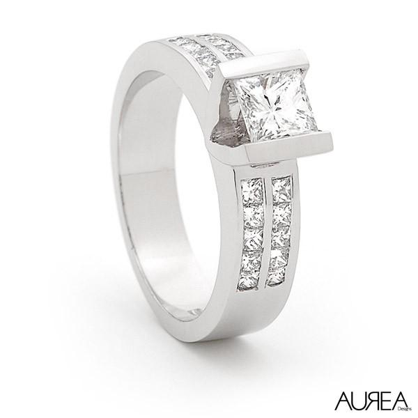 Half Bezel Princess Cut Engagement Ring