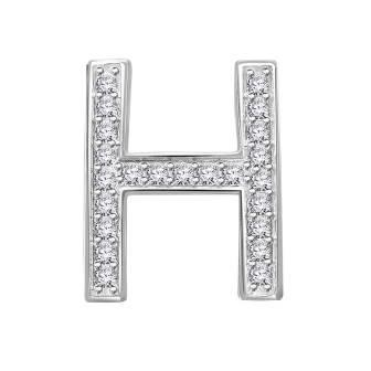 H Letter In Diamond Hand Crafted Fine Jewe...