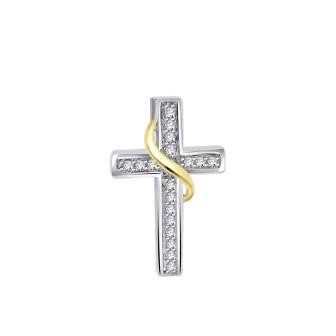 Classic Diamond Cross with Gold Leaf