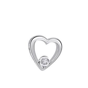 Single Bezel Set Diamond Heart Pendant