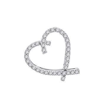 Ribbon Style Diamond Heart Pendant