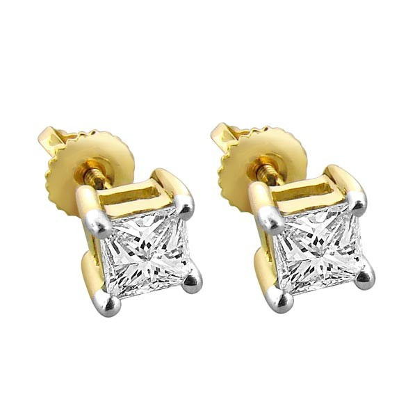 Four claw princess cut diamond stud earrings