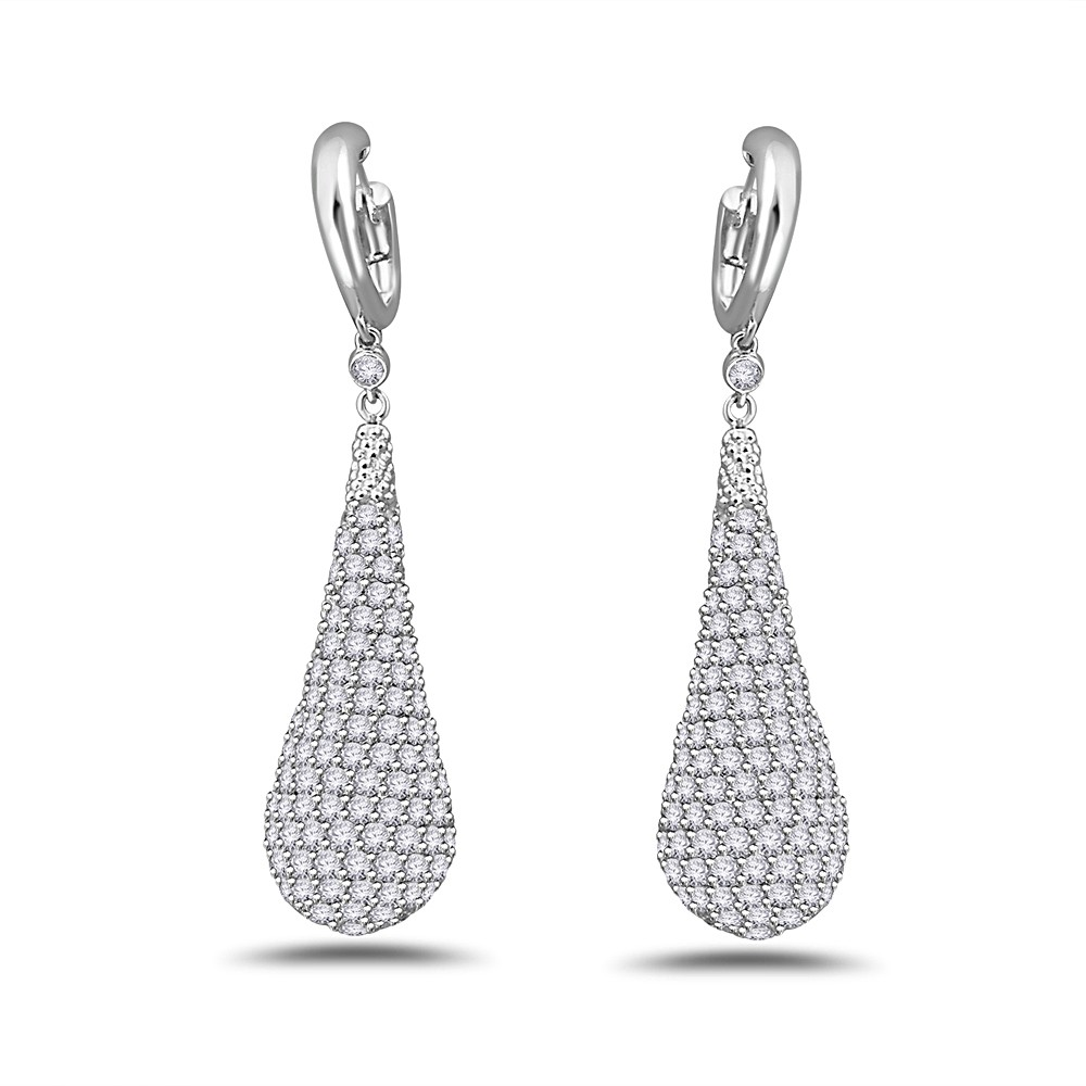Diamond encrusted drop earrings