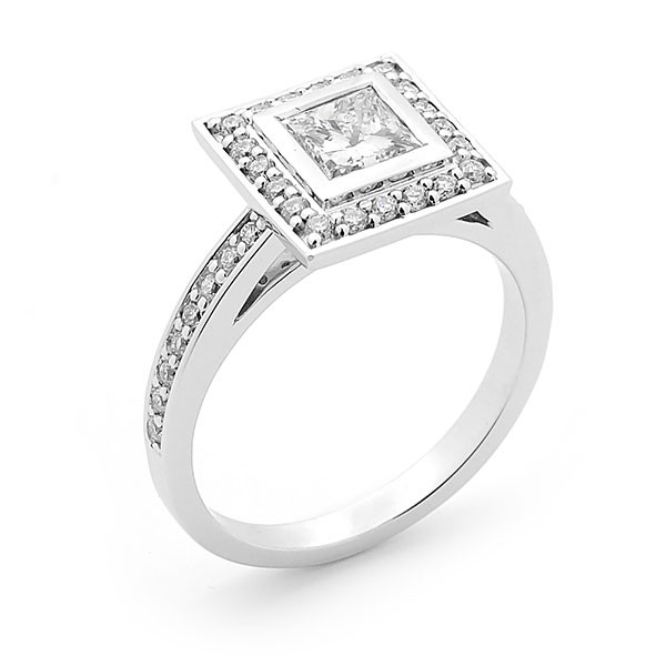 Princess Cut Diamond Bezel & Pave Set Ring