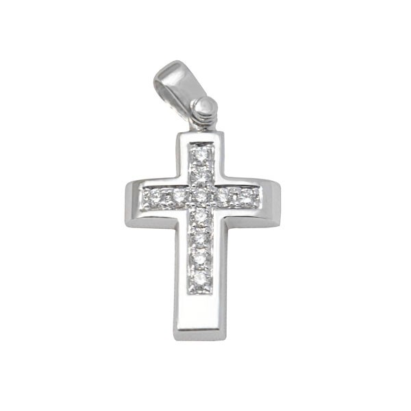 White Gold Classic Diamond Cross